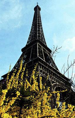 Digital Art - Yellow Flowers Blooming Beneath The Eiffel Tower Springtime Paris France Fresco Digital Art by Shawn O'Brien