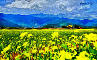 Country Side Digital Art - Yellow Flowers - Da by Leonardo Digenio