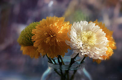 Photograph - Yellow Flowers In A Glass Jar by Maria Angelica Maira