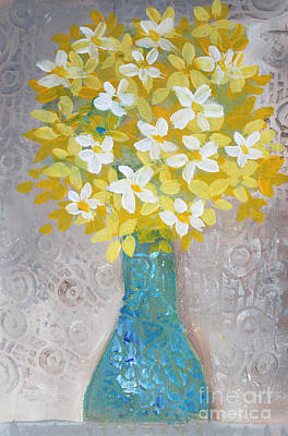 Painting - Yellow Flowers In Turquoise Vase by Janyce Boynton