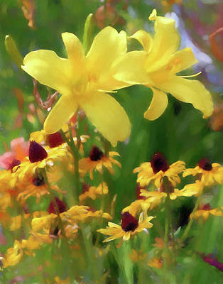 Photograph - Yellow Flowers In Watercolor by John Freidenberg