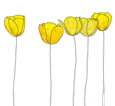 In A Row Drawing - Yellow Flowers by J Ripley Fagence