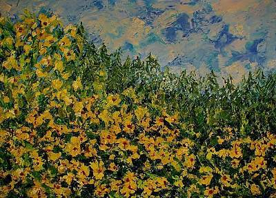 Painting - Yellow Flowers by Kat Griffin