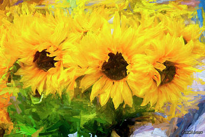 Digital Art - Yellow Flowers by Ken Morris