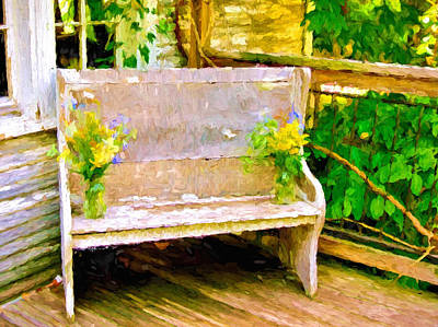 Featured Tapestry Designs - Yellow Flowers on Porch Bench by Ginger Wakem