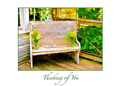 Photograph - Yellow Flowers On Porch Bench Greeting Card by Ginger Wakem
