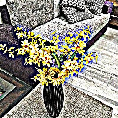 Vermeer Rights Managed Images - Yellow Flowers Art 3  Royalty-Free Image by Jagjeet Kaur