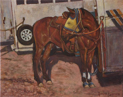 Trailer Painting - Yellow Fly Mask by Harvie Brown