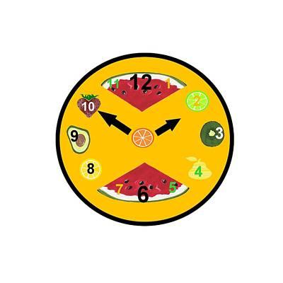 Watermelon Mixed Media - Yellow Food Clock by Kathleen Sartoris