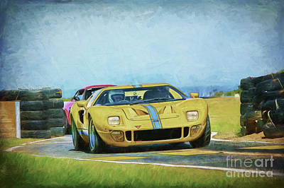 Photograph - Yellow Ford Gt40 by Stuart Row