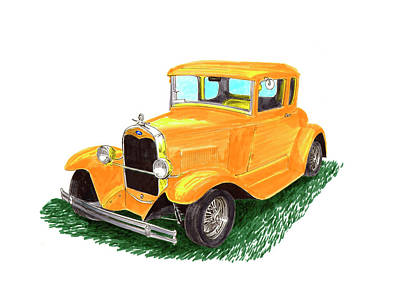 Painting - Yellow Ford Hot Rod Coupe by Jack Pumphrey