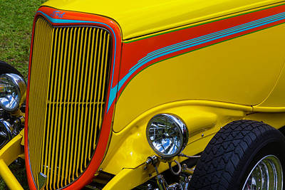 Headlight Photograph - Yellow Ford Hot Rod by Garry Gay