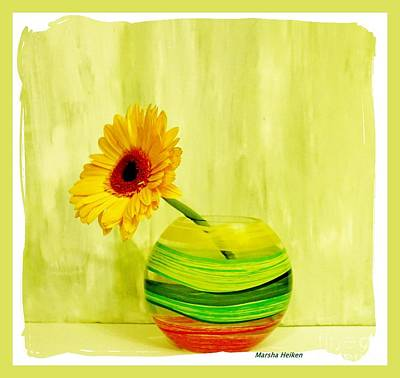Photograph - Yellow Gerber Matching Vase by Marsha Heiken