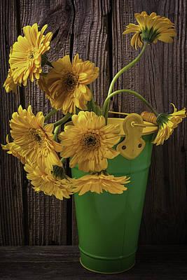 Gerbera Daisy Photograph - Yellow Gerbera Daises  by Garry Gay