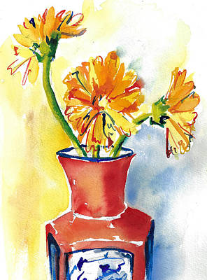Yellow Gerbera Daisies In A Red And Blue Delft Vase Art Print