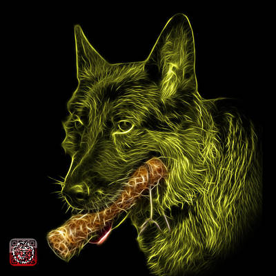 Digital Art - Yellow German Shepherd And Toy - 0745 F by James Ahn