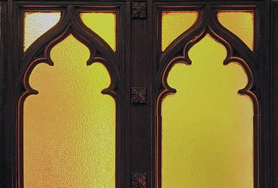 Photograph - Yellow Glass Wooden Door by Cora Wandel