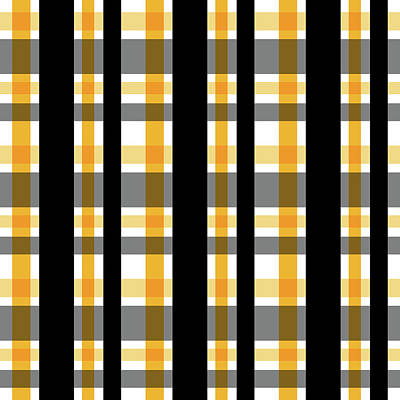 Art Print featuring the photograph Yellow Gold And Black Plaid Striped Pattern Vrsn 1 by Shelley Neff