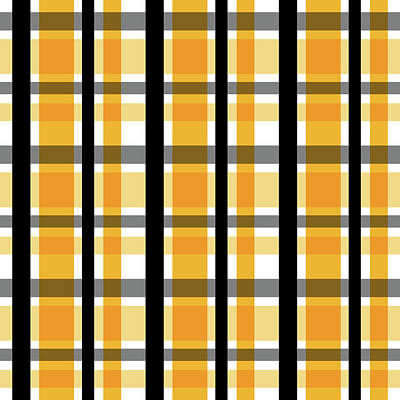 Art Print featuring the photograph Yellow Gold And Black Plaid Striped Pattern Vrsn 2 by Shelley Neff