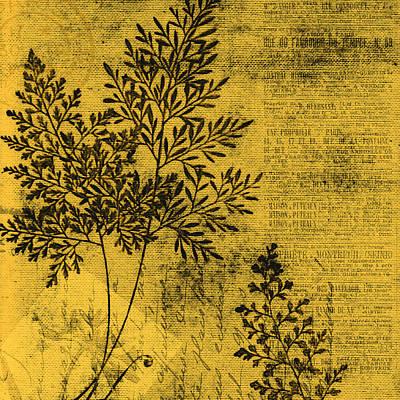 Digital Art - Yellow Gold Botanical by Bonnie Bruno