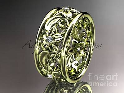 Leaf And Vine Engagement Ring Jewelry - yellow gold diamond leaf and vine wedding ring engagement ring wedding band nature inspired ADLR150 by AnjaysDesigns com