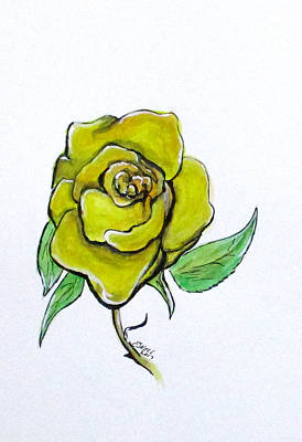 Painting - Yellow-green Rose by Clyde J Kell