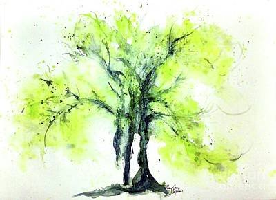Painting - Yellow Green Springtime Tree Watercolour by CheyAnne Sexton