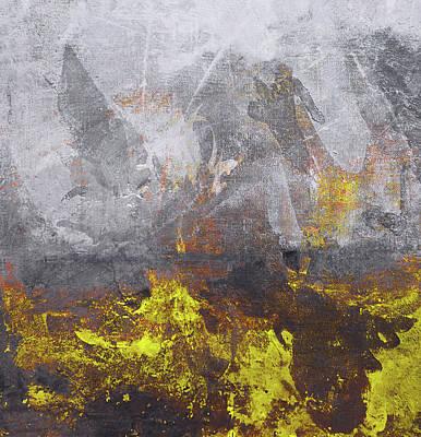 Sun Rays Digital Art - Yellow Grey Abstraction by Filippo B