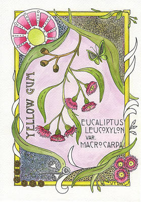 Yellow Gum Branch In Art Nouveau Style  Art Print by Victoria Yurkova