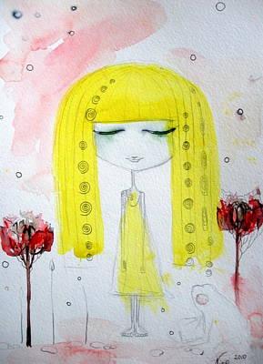 Yellow Hair Girl  Art Print