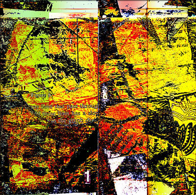 Modern Art Mixed Media - Yellow Halftone by KA Davis