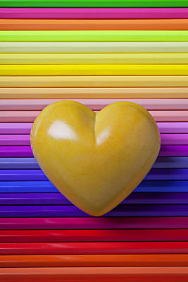 Sensitive Photograph - Yellow Heart On Row Of Colored Pencils by Garry Gay