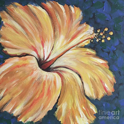 Wall Art - Painting - Yellow Hibiscus by Raul Alsina