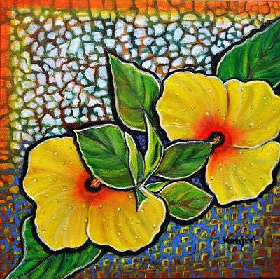 Painting - Yellow Hibiscus A Decorative Painting With Mosaic Style On Sale by Manjiri Kanvinde