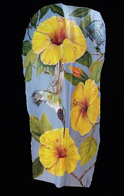 Painting - Yellow Hibiscus And Bf by Nancy Lauby
