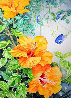 Painting - Yellow Hibiscus And Blue Clitoria by Vishwajyoti Mohrhoff