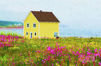 Digital Art - Yellow Home And Pink Flowers - Painterly by Les Palenik