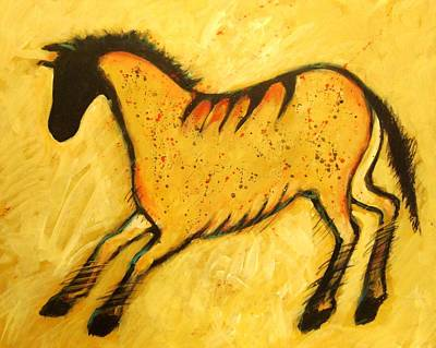 Petroglyph Painting - Yellow Horse Modern Cave Painting by Carol Suzanne Niebuhr