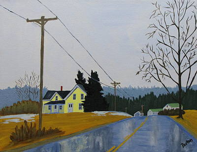 Maine Landscape Painting - Yellow House In March by Laurie Breton
