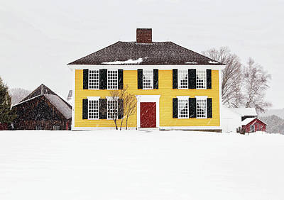 Photograph - Yellow House In Snow by John Vose