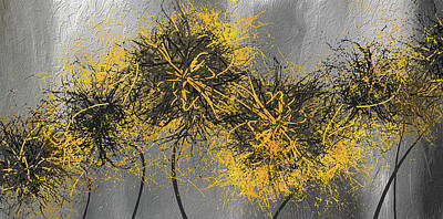 Painting - Yellow Hymns - Yellow And Gray Modern Abstract Art by Lourry Legarde