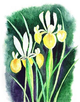 Outdoor Still Life Painting - Yellow Iris Flowers by Irina Sztukowski