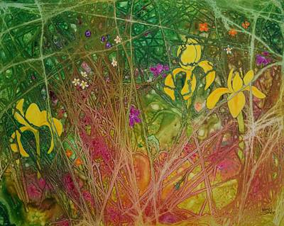 Painting - Yellow Iris by Nancy Jolley