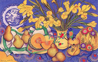 Pastel - Yellow Irises In The Bird Jug by Richard Lee