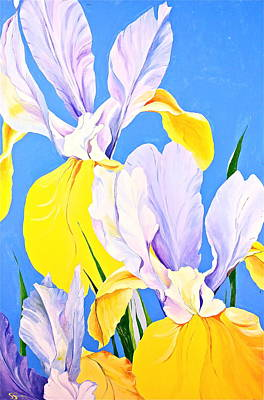 Painting - Yellow Irises-posthumously Presented Paintings Of Sachi Spohn  by Cliff Spohn