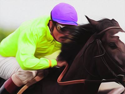 Yellow Jockey By Nixo Art Print by Nicholas Nixo