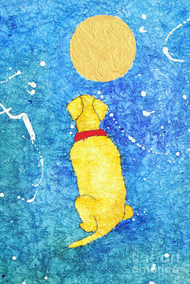 Night Sky With Moon Painting - Loyal Yellow Lab by Martha Kuper Brinson