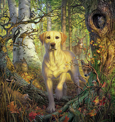 Squirrel Wall Art - Digital Art - Yellow Lab In Fall by Mark Fredrickson