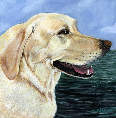 Painting - Yellow Lab Marley by Sara Stevenson