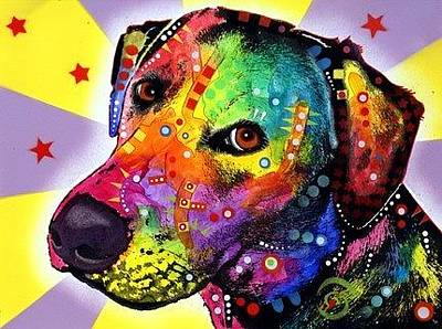 Lab Mixed Media - Yellow Labrador by Dean Russo